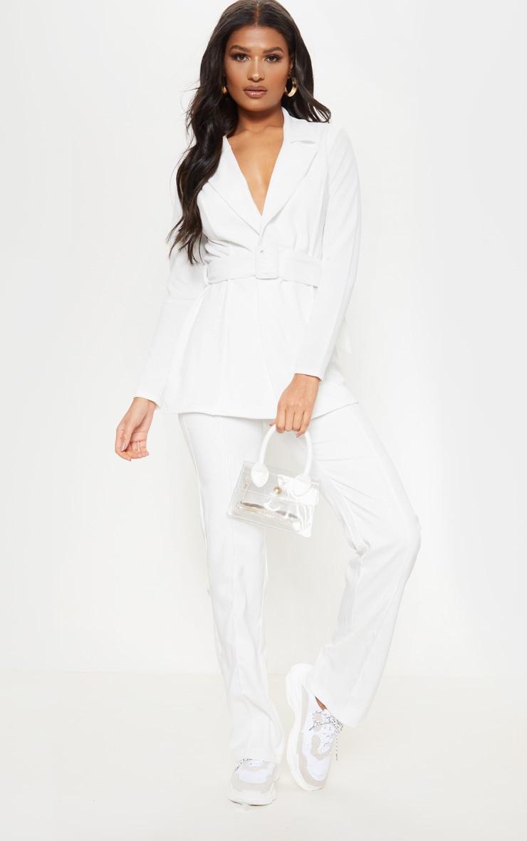 Cream Belted Blazer 1