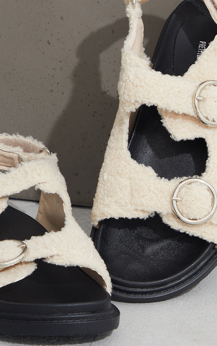 Cream Faux Shearling Buckle Sandals 4