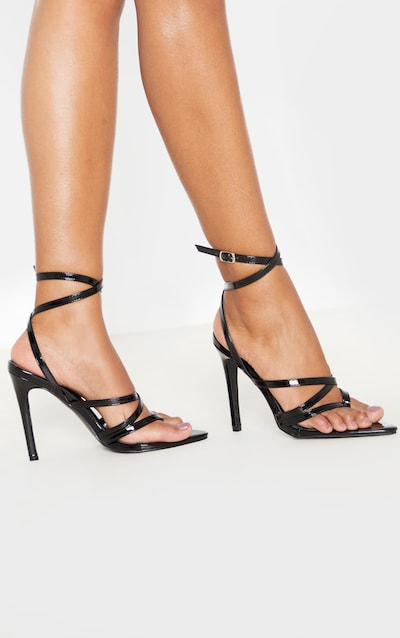 Black Point Toe Thong Multi Strappy Sandal