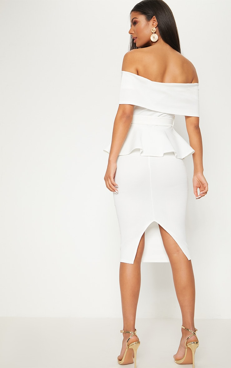 White Bardot Peplum Midi Dress 2
