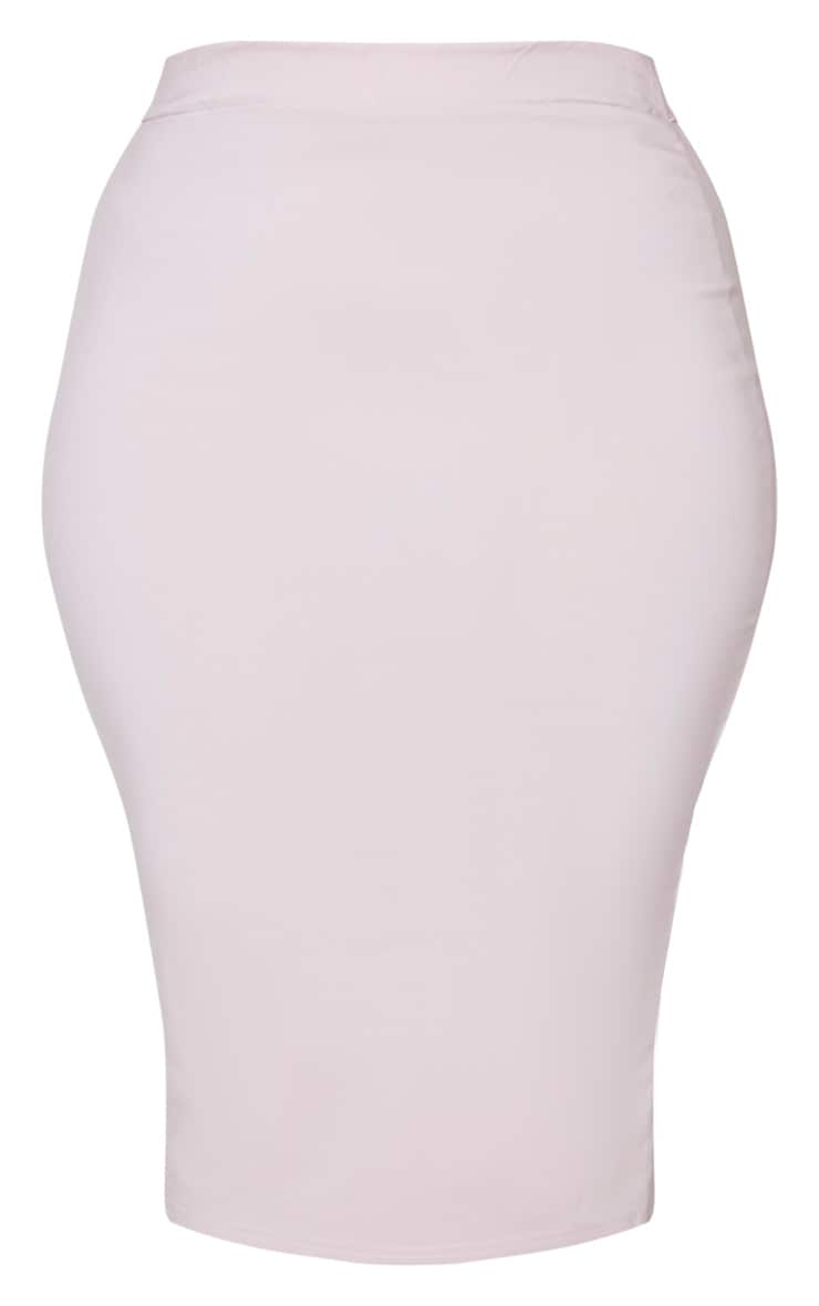 Plus Dusty Pink Stretch Seam Detail Midi Skirt 5