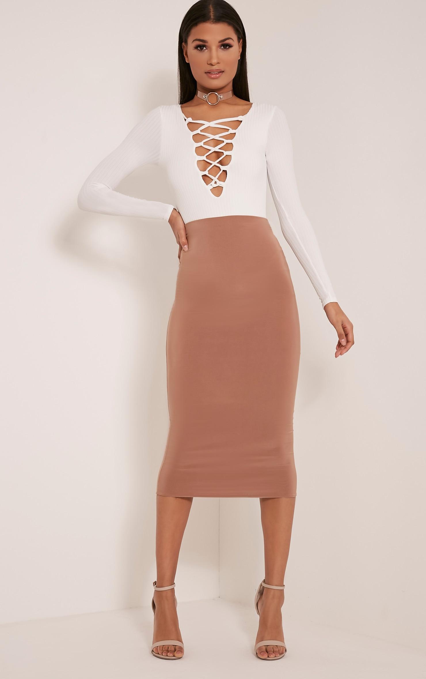 Baylee White Lace Up Ribbed Long Sleeve Bodysuit 6