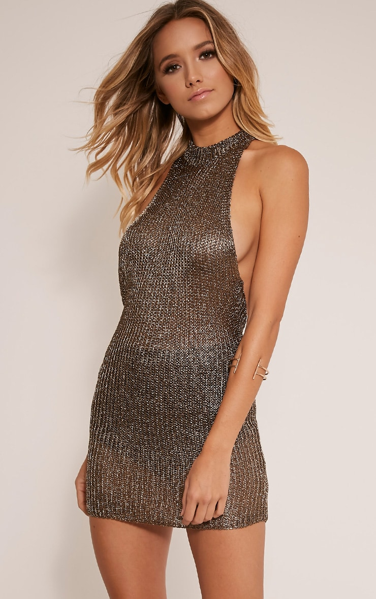 Dessa Gold High Neck Halterneck Metallic Knitted Dress 1