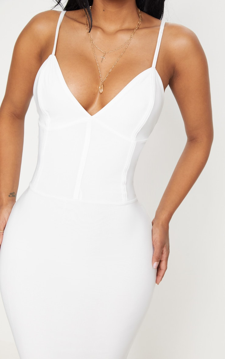 Shape Ivory Slinky Panelled Midi Dress 5