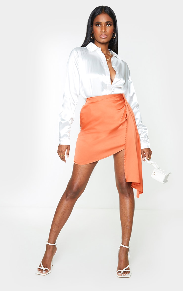 Orange Satin Drape Side Mini Skirt
