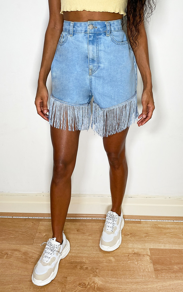 Light Blue Wash Tassel Hem Denim Shorts 2