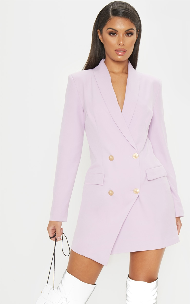Lilac Gold Button Blazer Dress 1