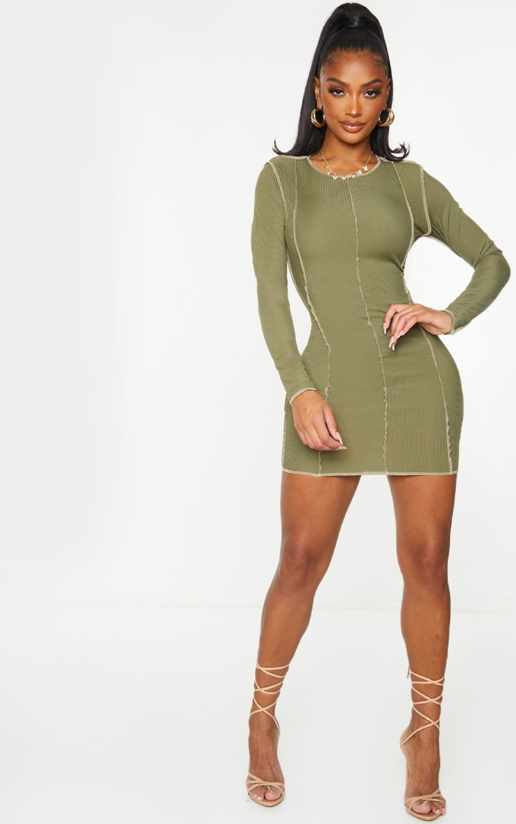 Shape Khaki Rib Overlock Seam Detail Bodycon Dress 3