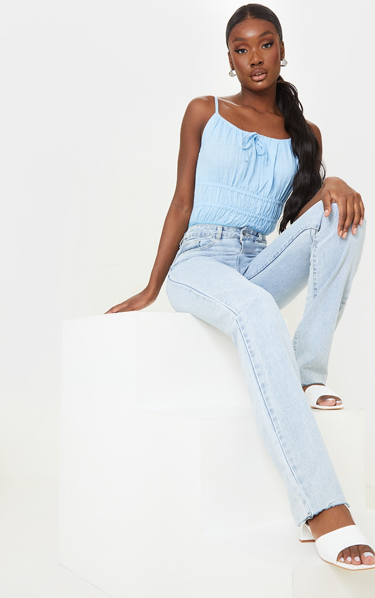 Tall Baby Blue Strappy Ruched Bodysuit 3