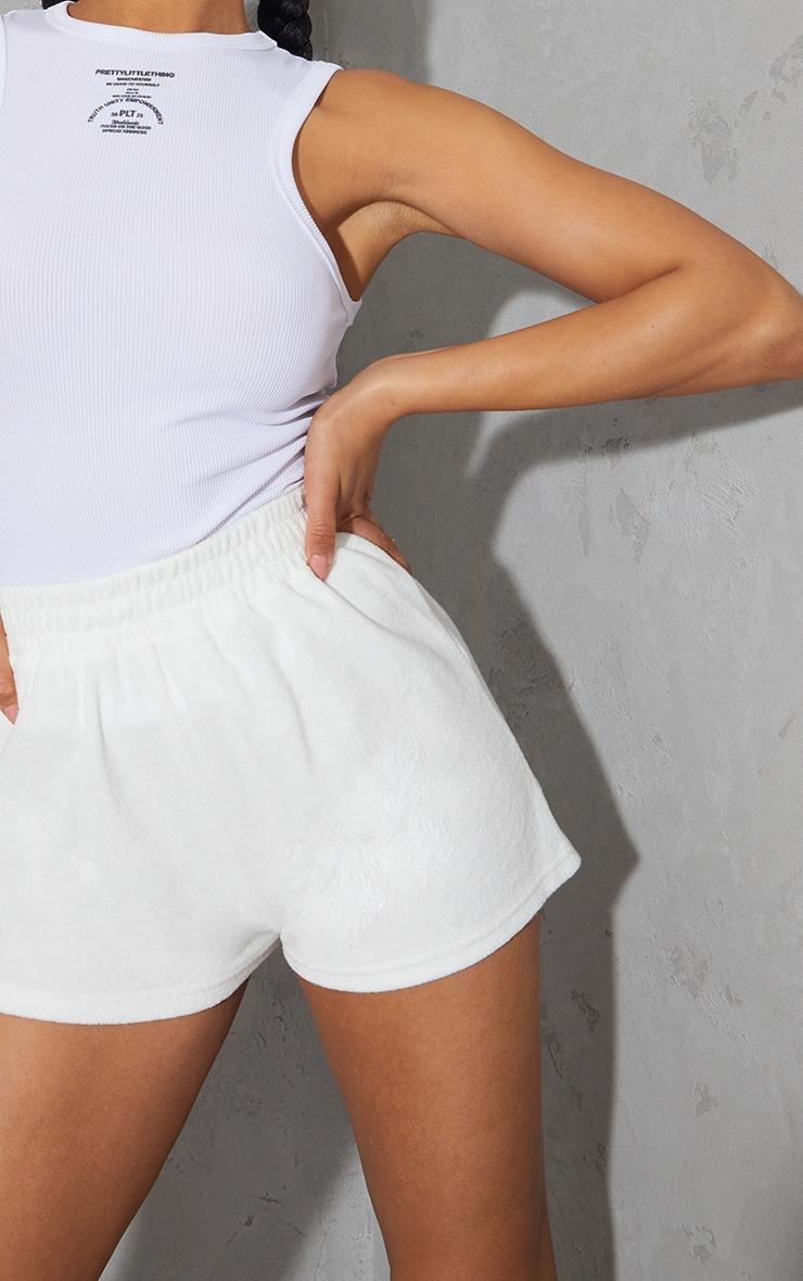 White Towelling Runner Shorts 5