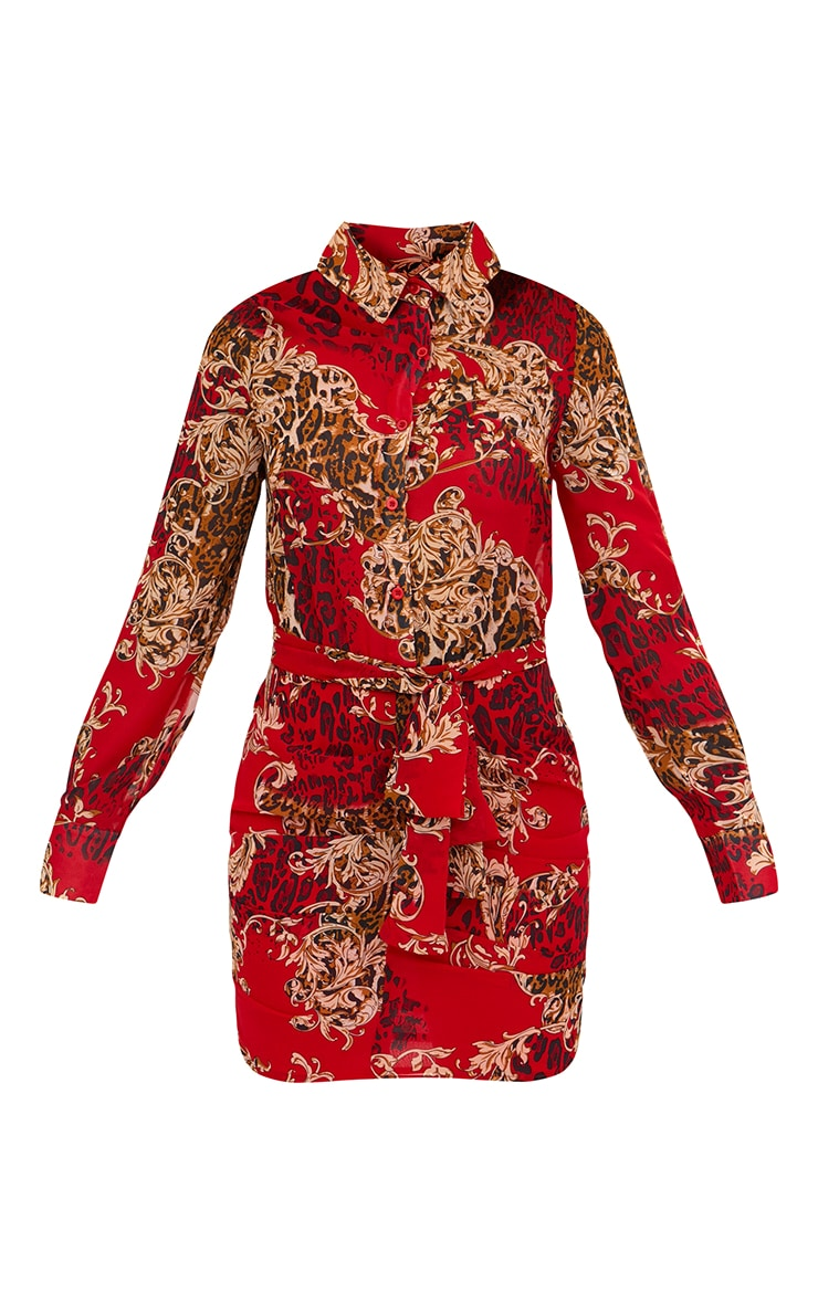 Red Baroque Print Ruched Front Shirt Dress 3