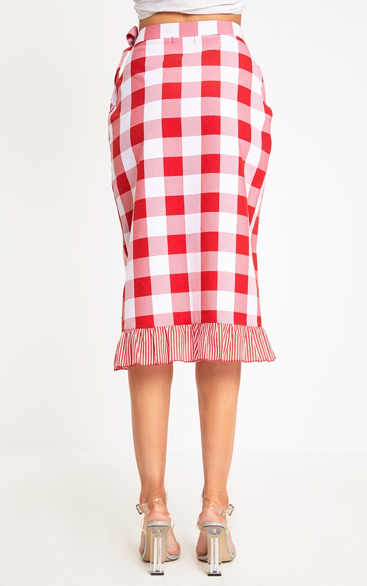 Red Contrast Frill Hem Gingham Midi Skirt 4