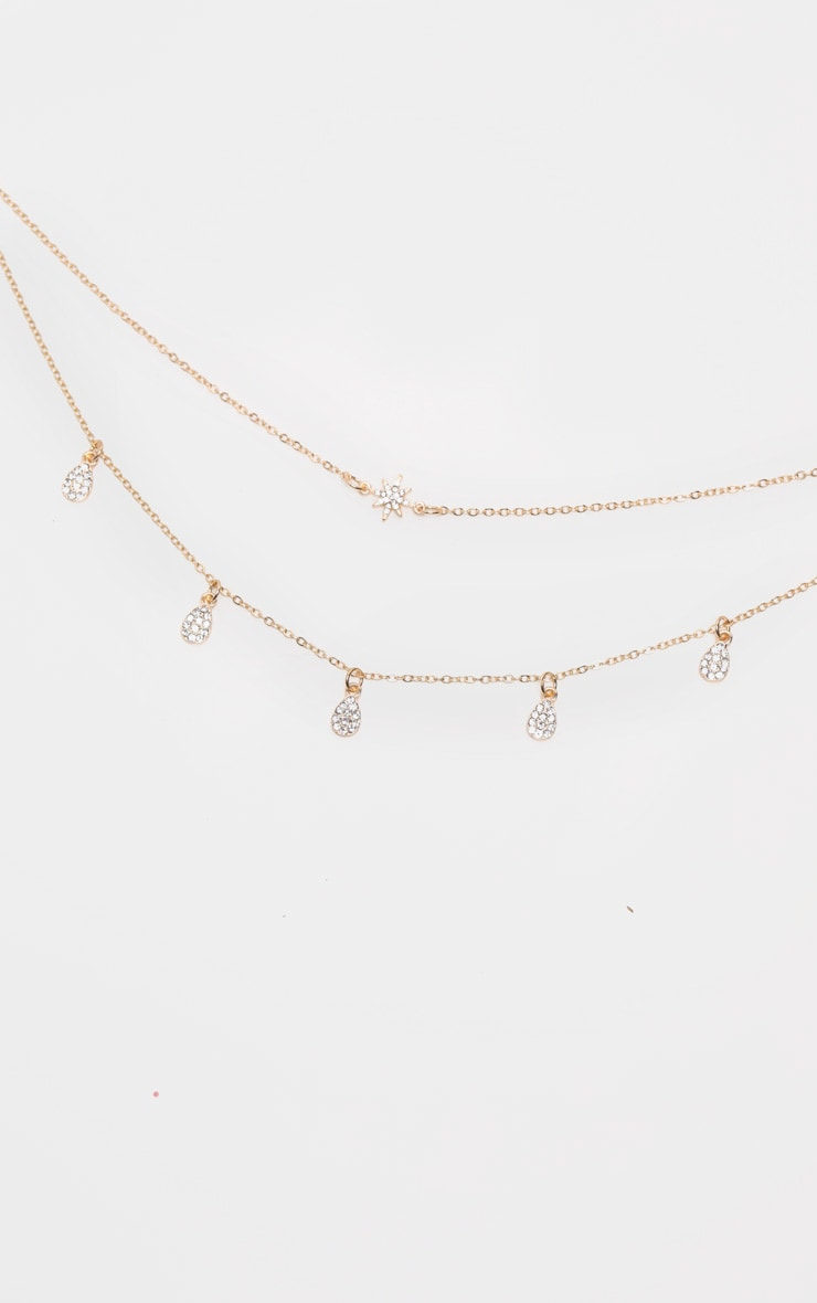 Gold Double Chain Star And Tear Drop Necklace 2