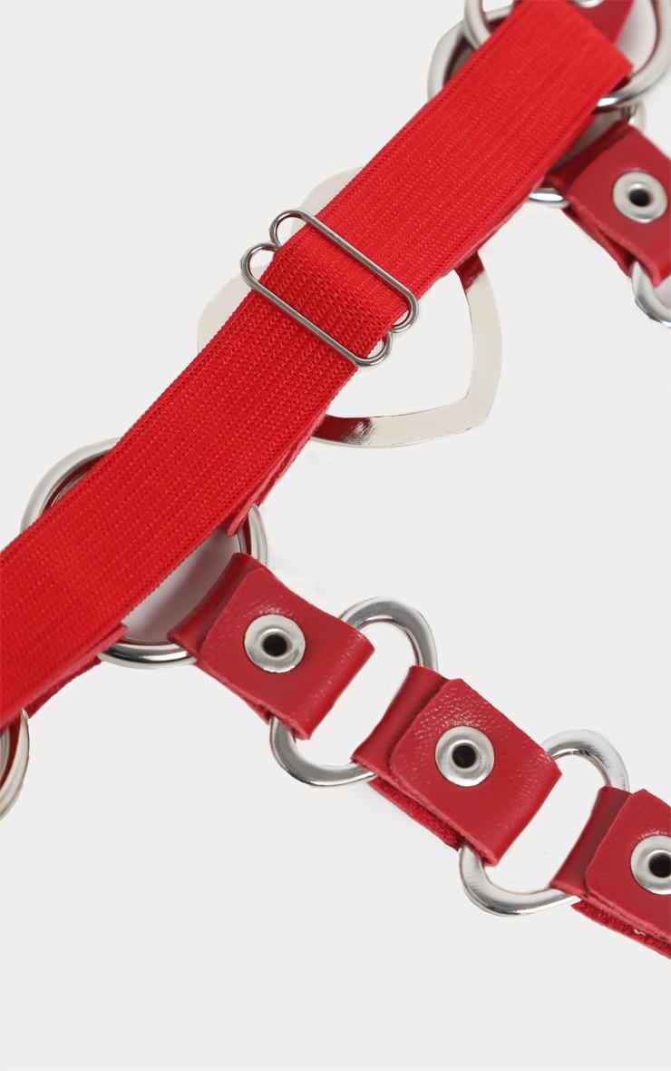 Harnais de jambe en similicuir rouge  6