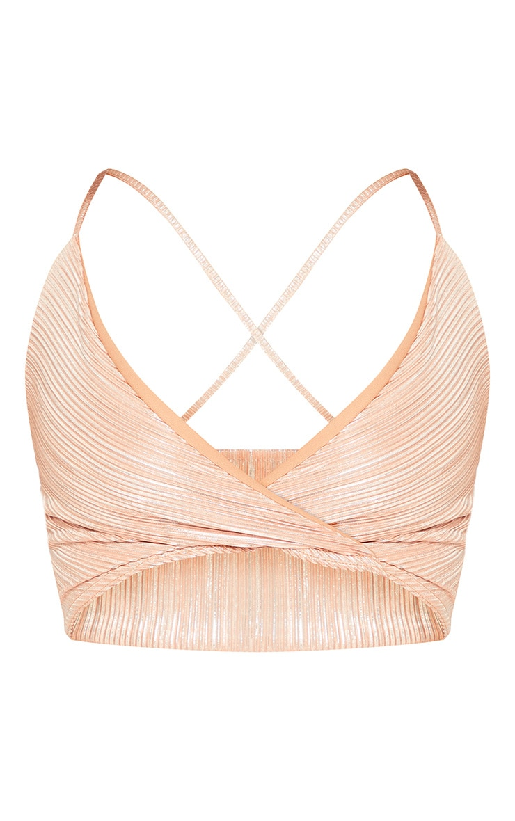 Shape Stone Metallic Pleated Strappy Crop Top 3