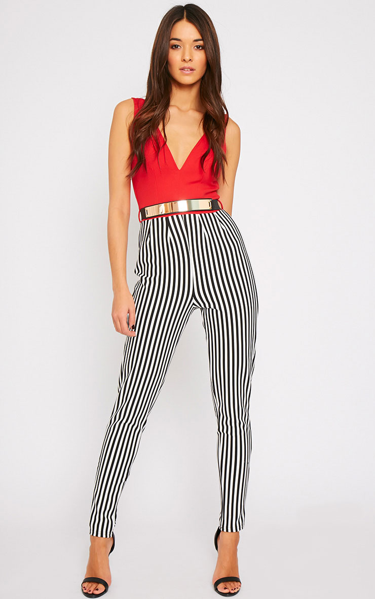 Bryn Red Plunge Stripe Jumpsuit  1