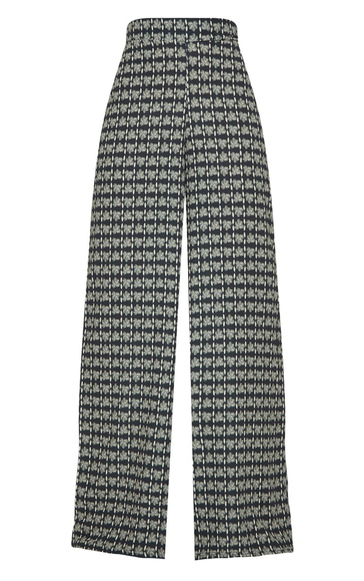 Grey Printed Wide Leg Trousers 3