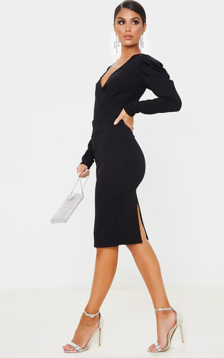 Black Pleated Wrap Long Sleeve Midi Dress 4