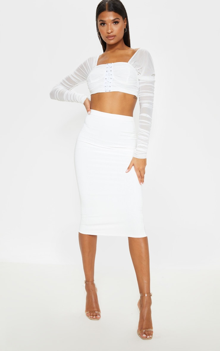 Aidy White Slinky Long Line Midi Skirt  1
