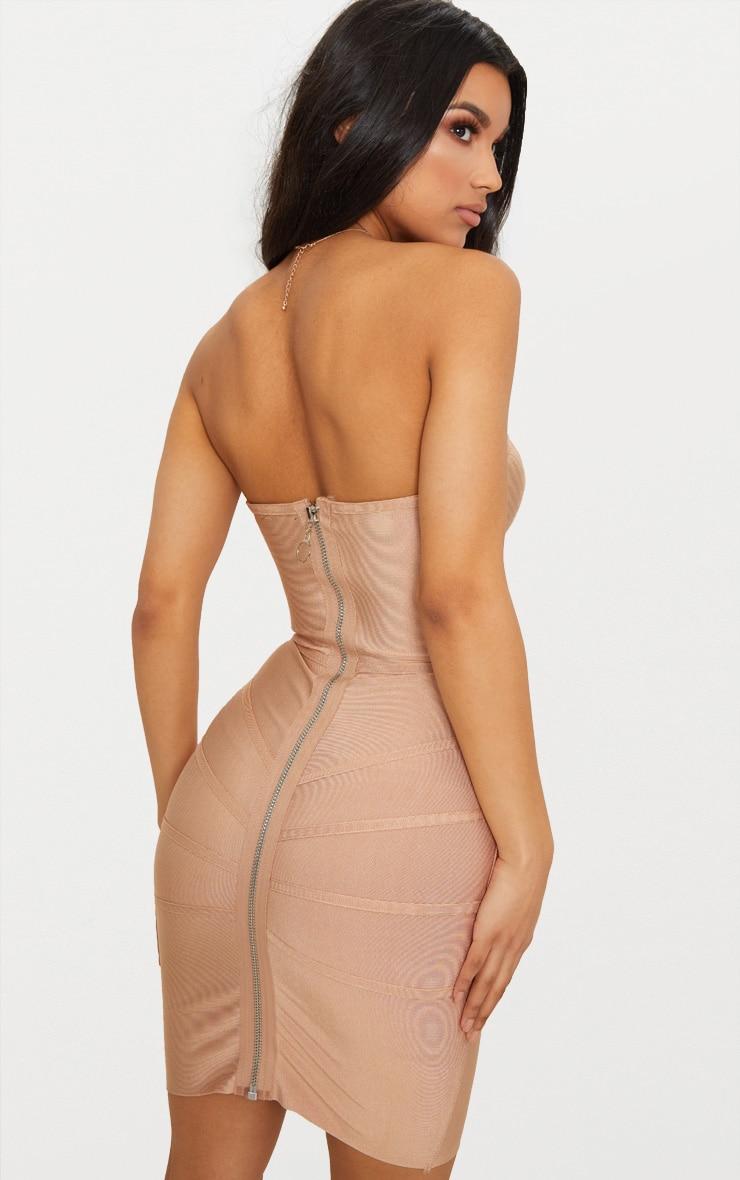 Cloe Camel Bandage Panel Bodycon Dress 2