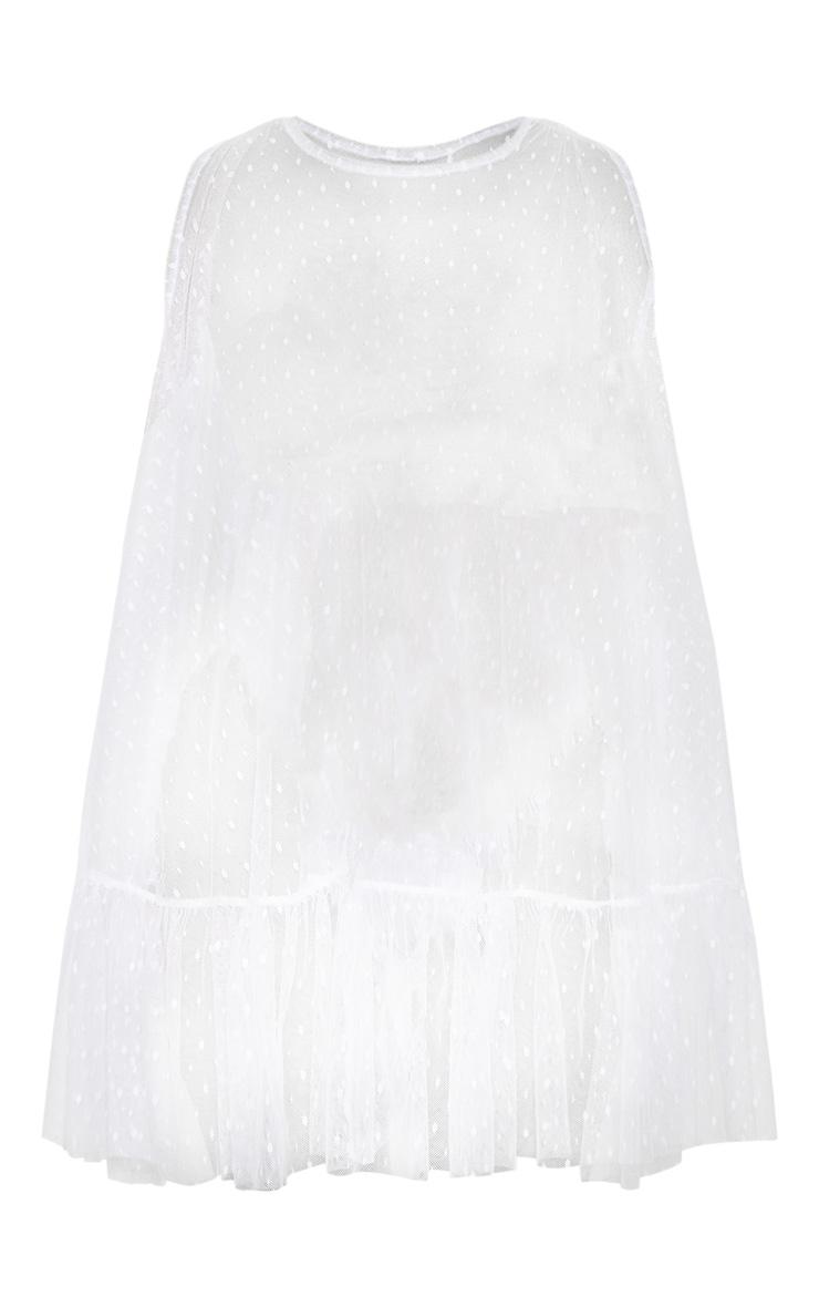 White Dobby Mesh Frill Shift Beach Dress 3