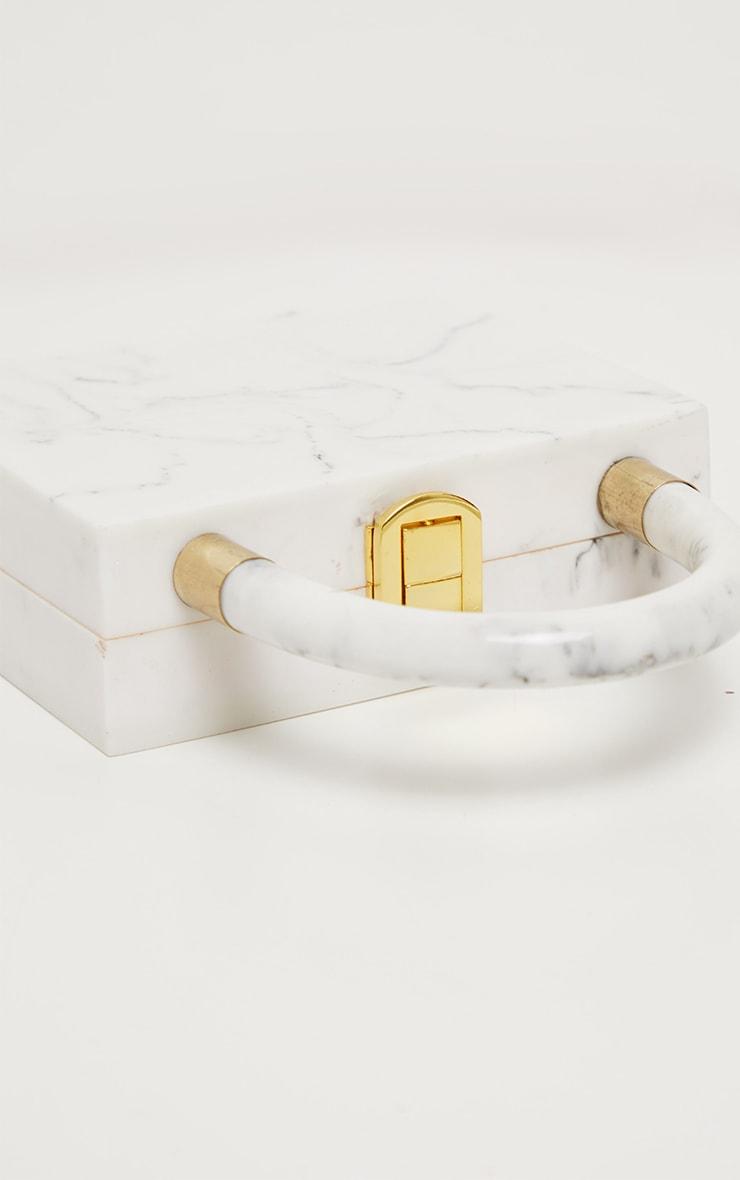 Cream Mini Square Resin Clutch Bag 3