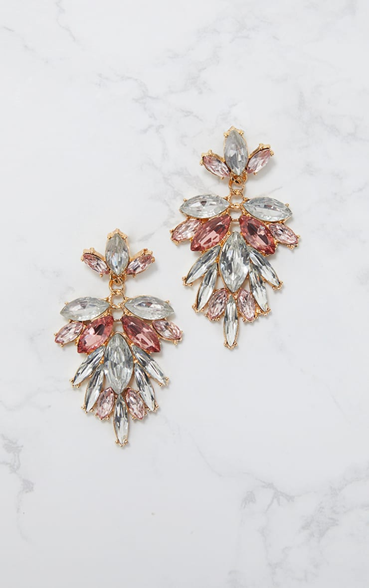 Pink Drop Diamante Stone Earrings  3