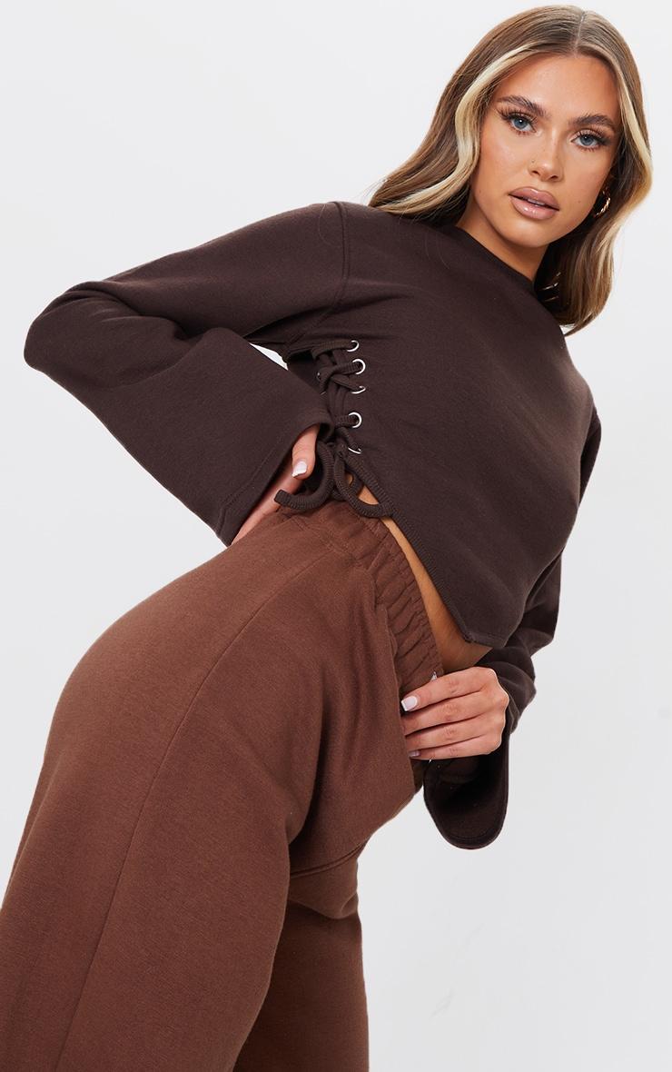 Chocolate Lace Up Side Sweatshirt 1