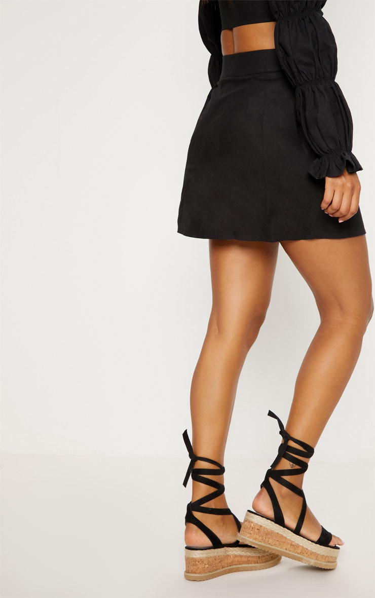 Black Cotton Button Detail Mini Skirt 4