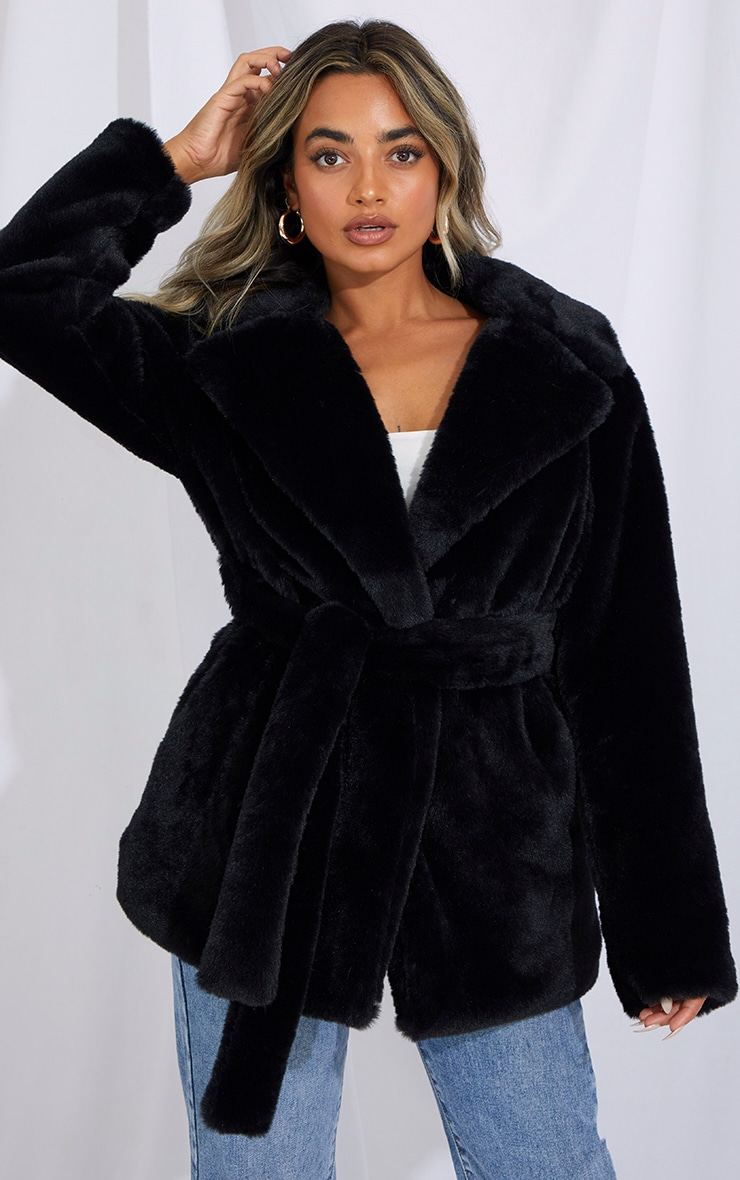 Petite Black Faux Fur Belted Coat 1