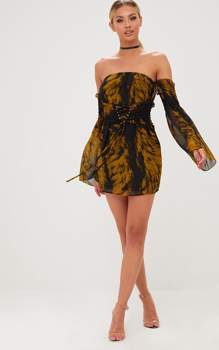 Black Ruched Bardot Corset Detail Bodycon Dress 4