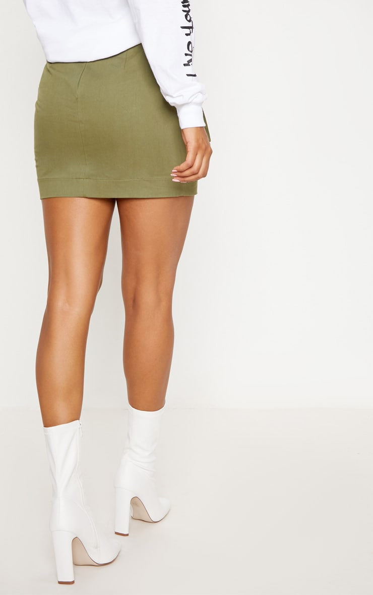 Khaki Cargo Pocket Detail Mini Skirt 4