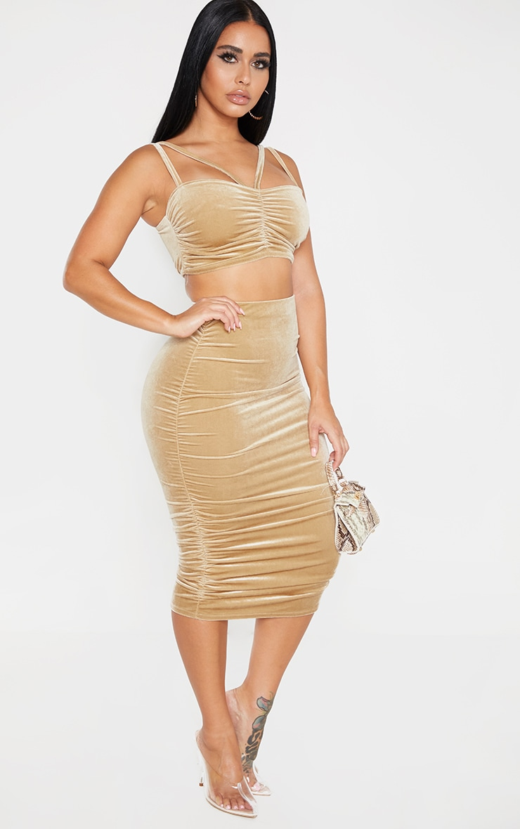 Shape Champagne Velvet Ruched Side Bodycon Skirt 1