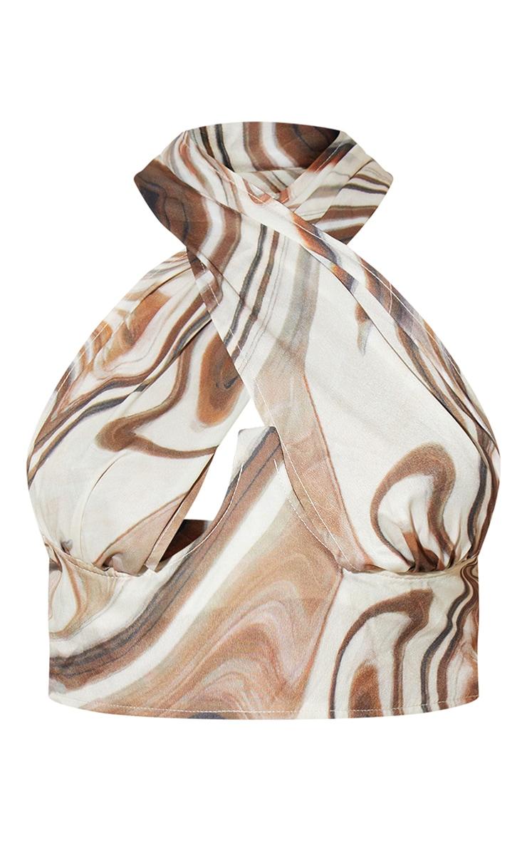 Brown Marble Print Woven Cross Front Halterneck Crop Top 5