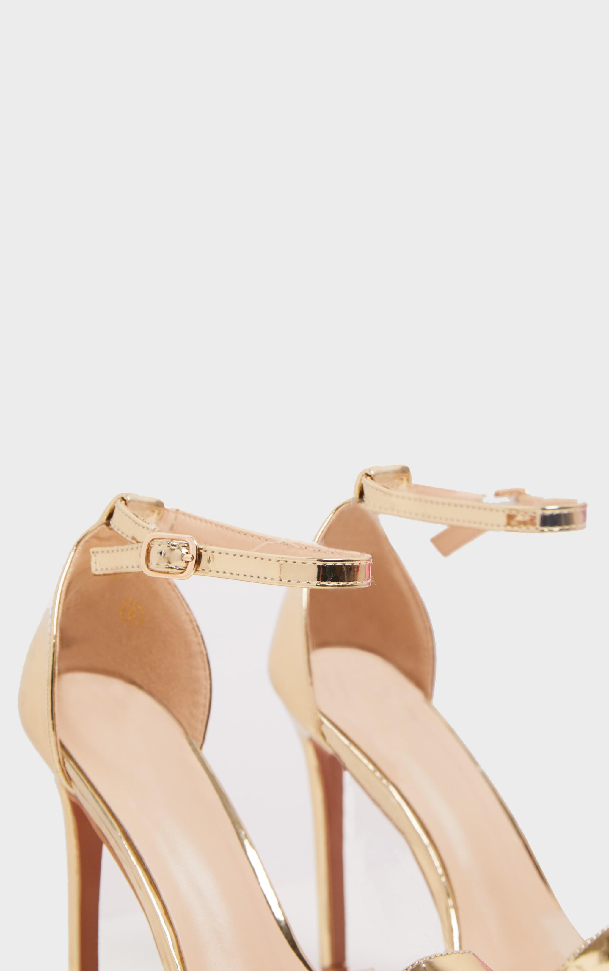 Shiny Gold Clover Strap Heeled Sandal  4