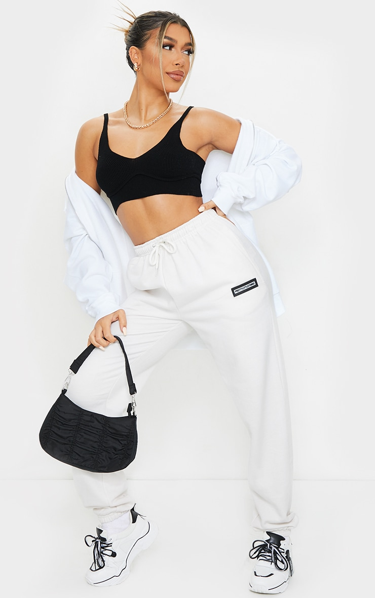 PRETTYLITTLETHING Ecru Badge Detail Casual Joggers 1