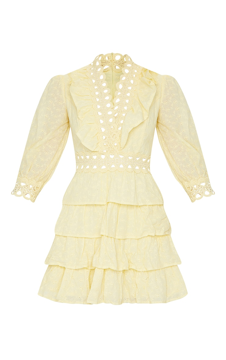 Lemon Lace Trim Broderie Anglaise Tiered Skater Dress 5