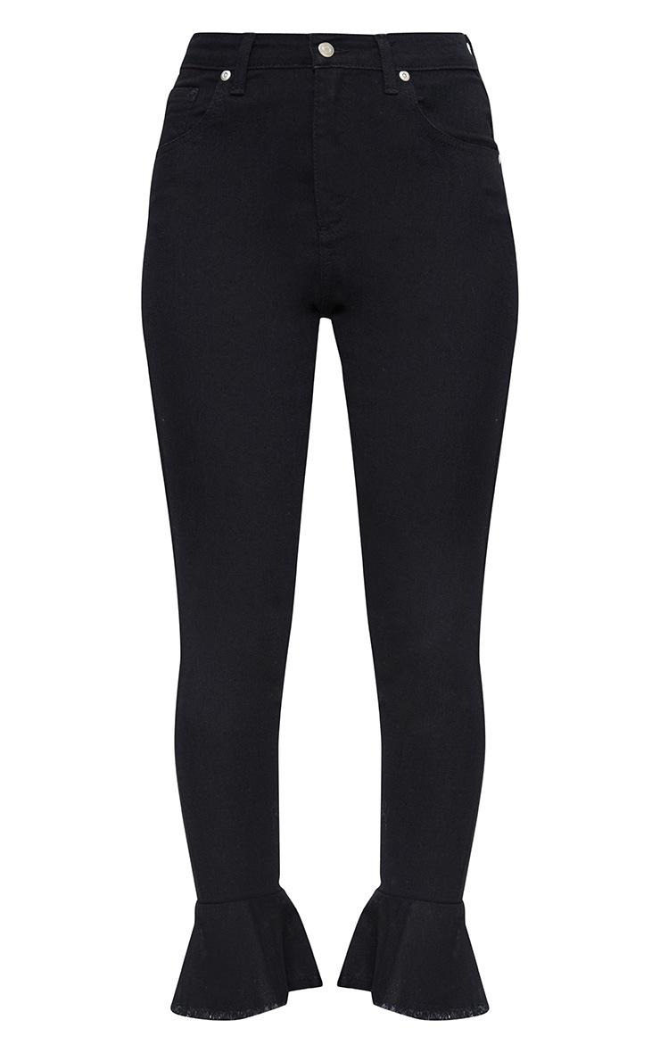 Tatjana Black Frill Hem Straight Leg Jean 3