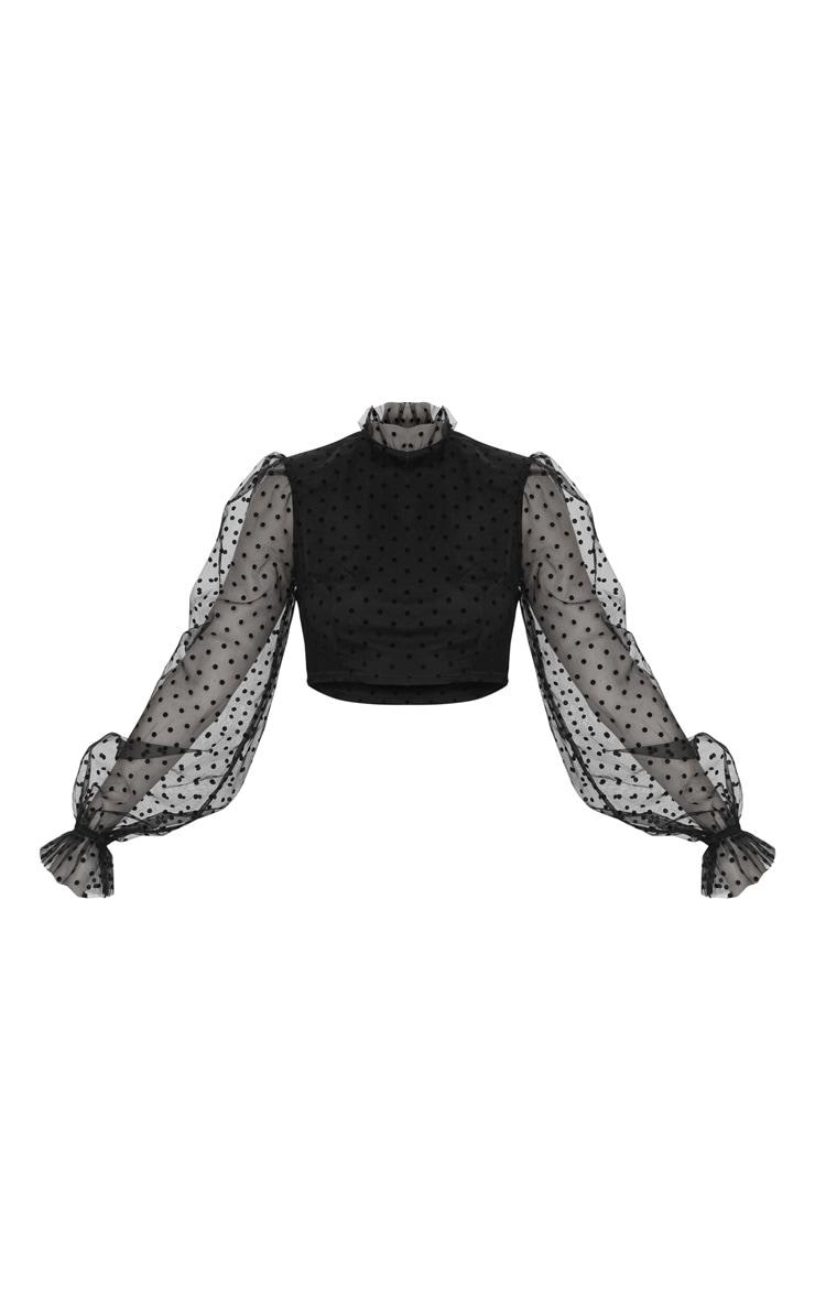 Black Sheer Polka Dot Frill Collar Cropped Blouse 3