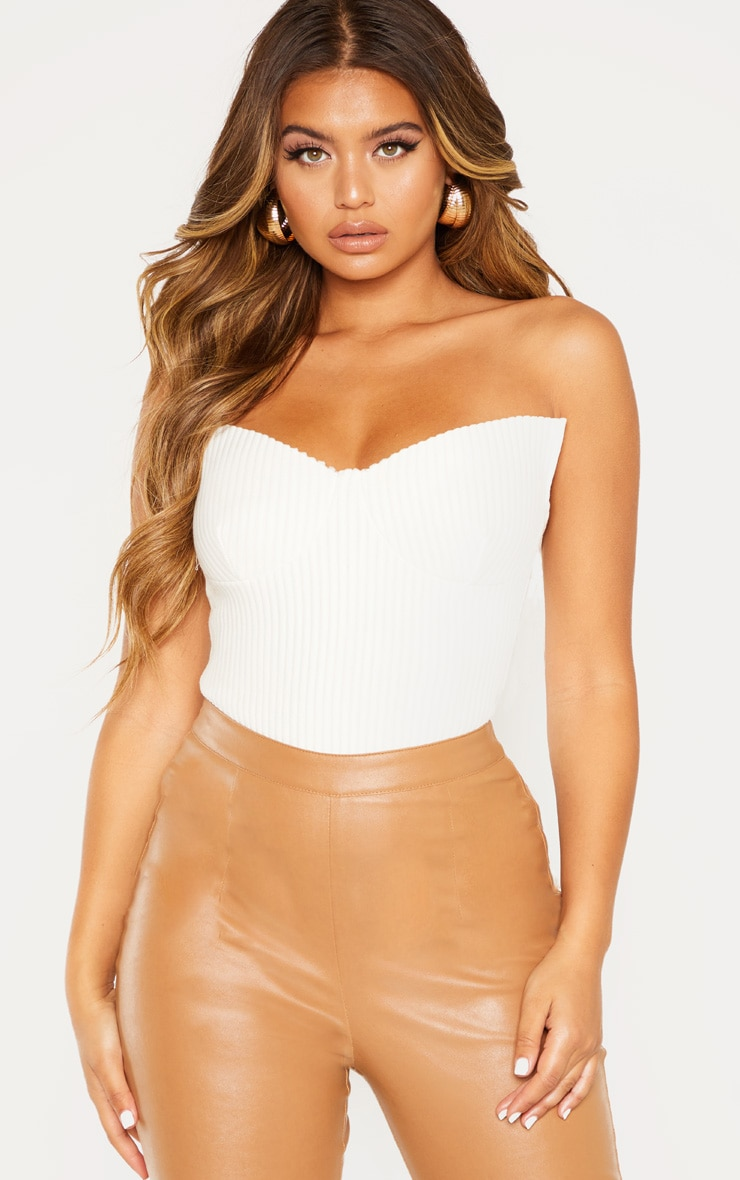 White Brushed Rib Cup Detail Bandeau Top 1