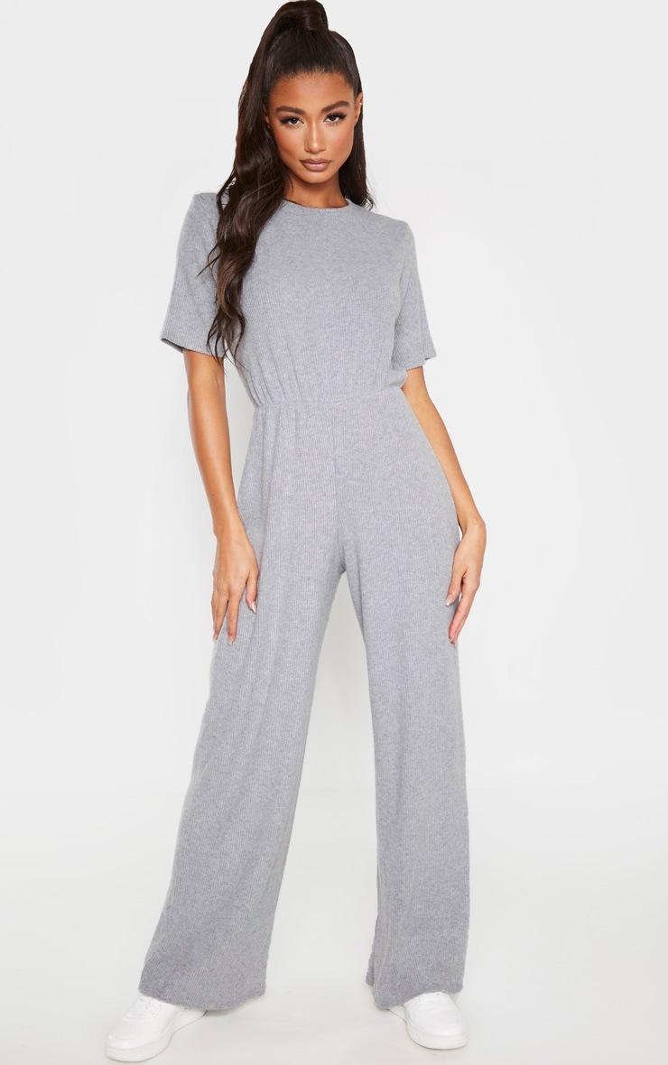 Grey Brushed Rib Short Sleeve Jumpsuit 4