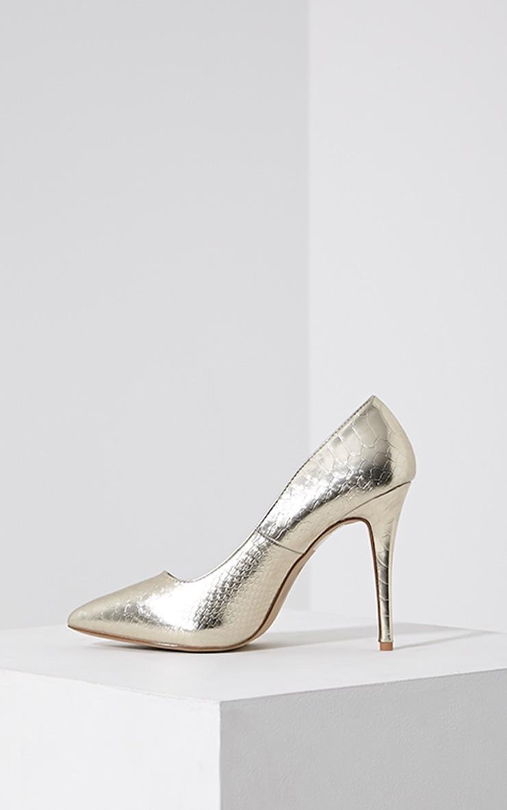 Lori Gold Metallic Snake Skin Pointed Court Heels 4