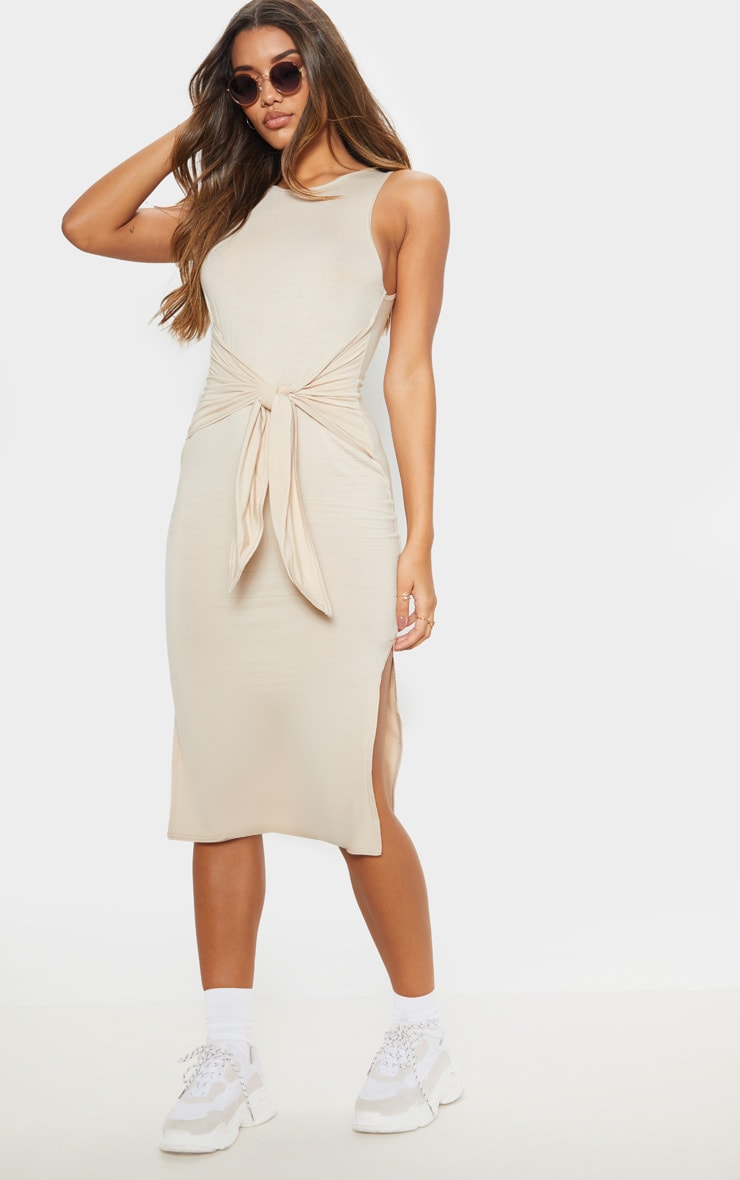 Beige Sleeveless Tie Waist Midi Dress 1