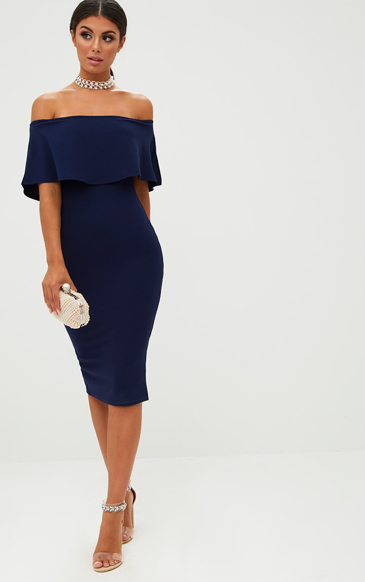 Navy Bardot Frill Midi Dress 4