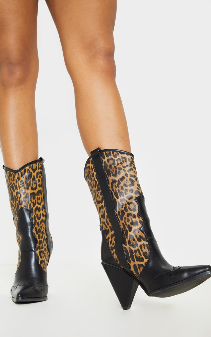Leopard Ankle Western Cone Heel Boot 1