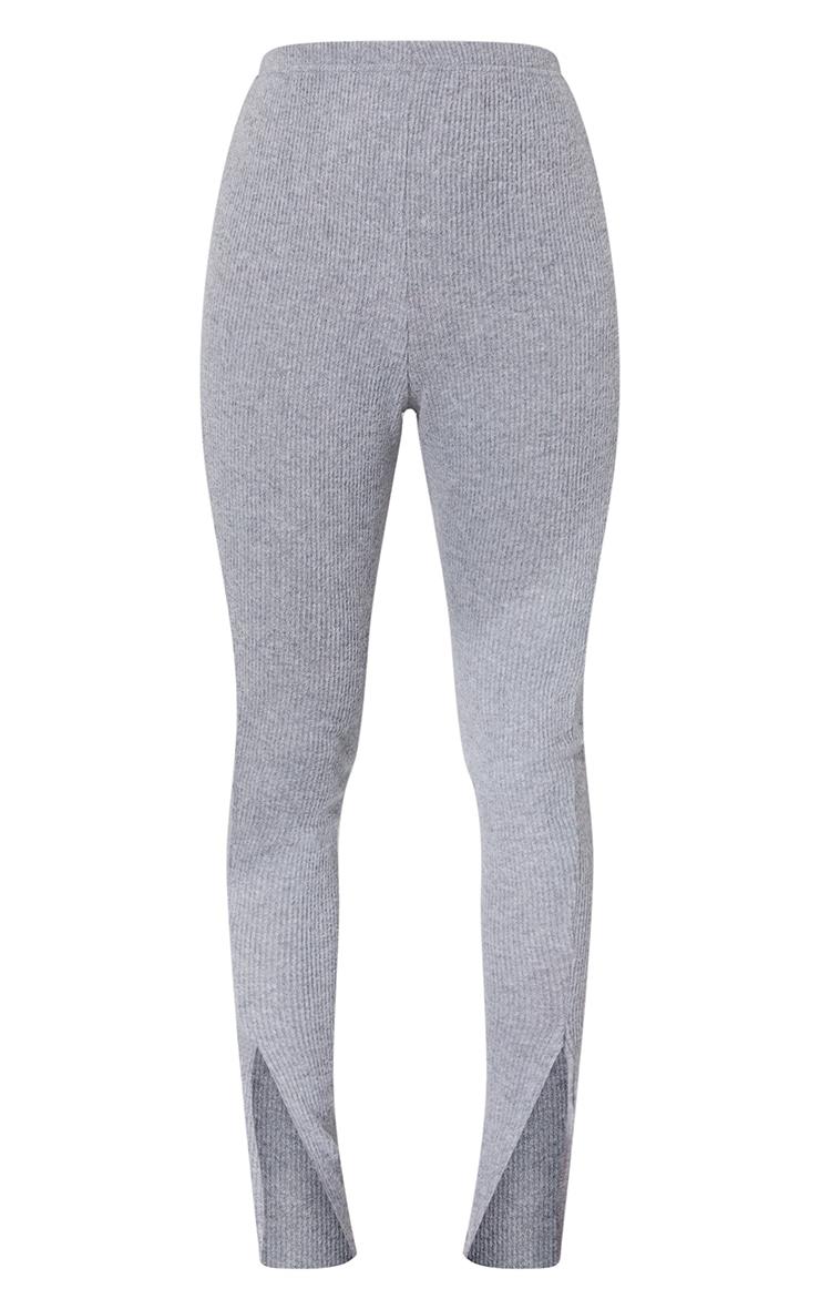 Grey Brushed Rib Split Hem Leggings 5