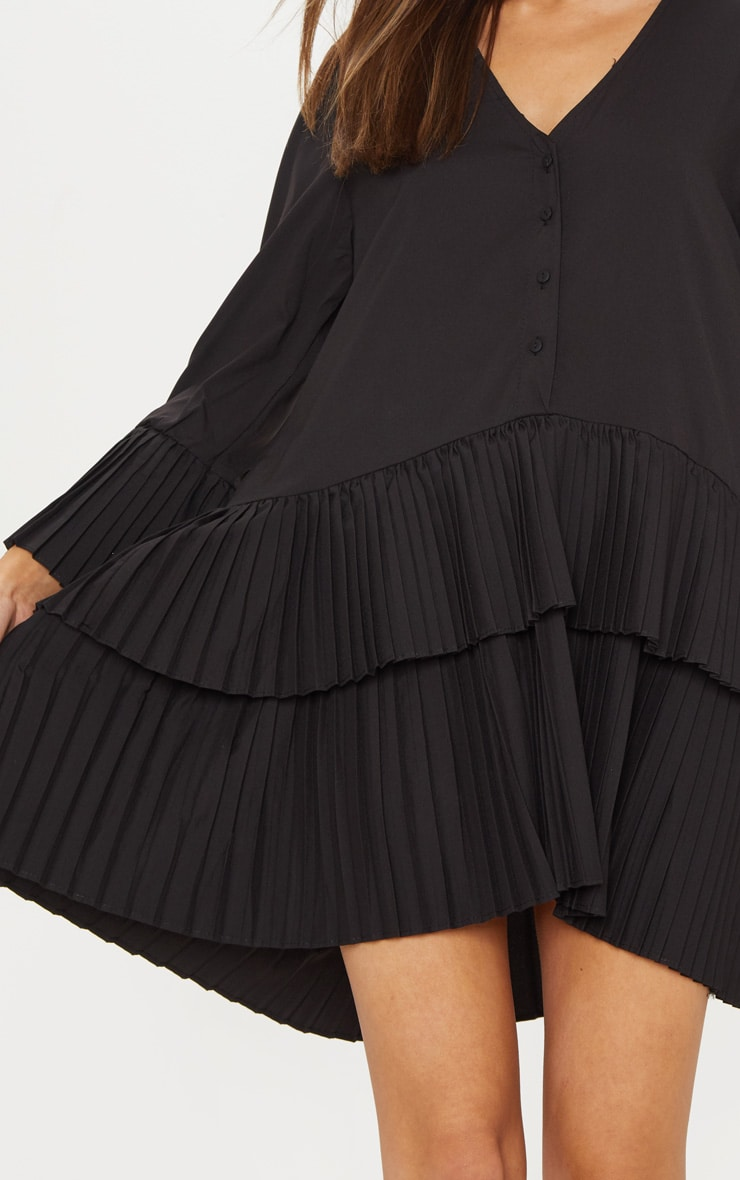 Black Button Tiered Smock Dress 5