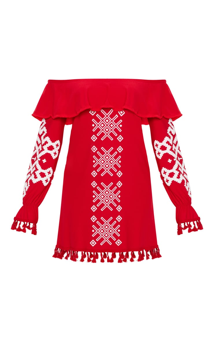 Red Bardot Tassel Detail Printed Shift Dress 3
