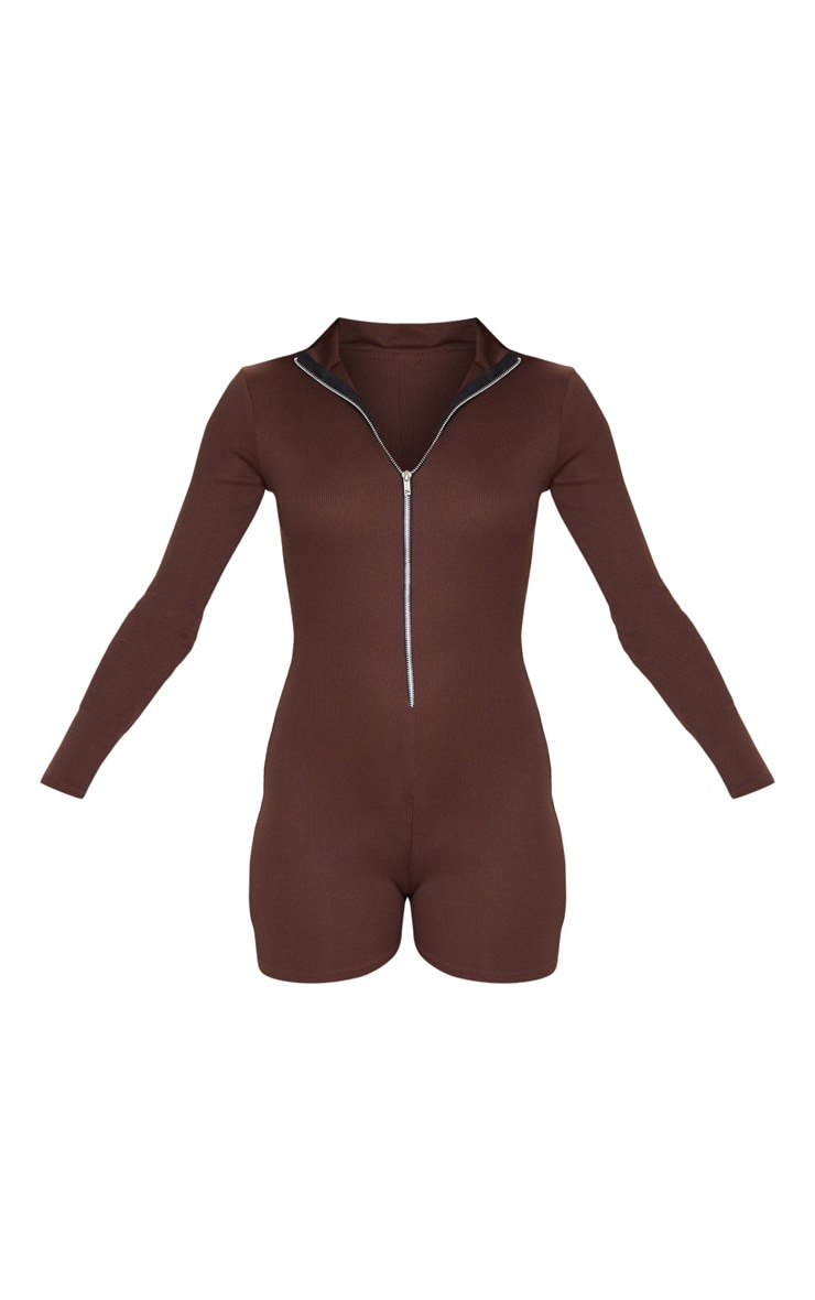 Chocolate Fine Rib Zip Detail Unitard 3