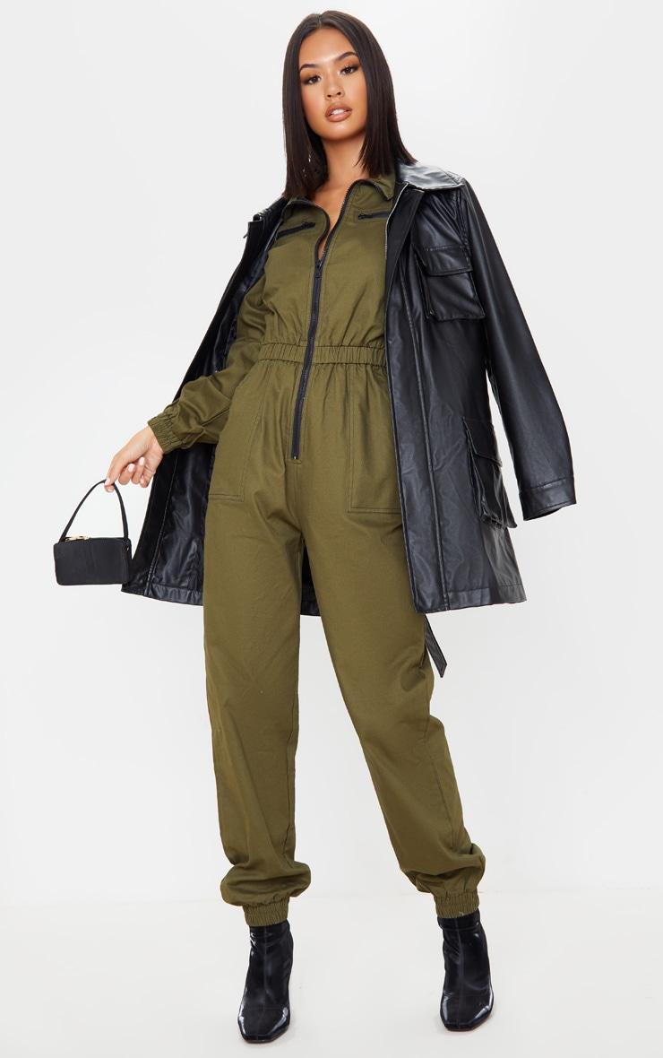 Khaki Boiler Contrast Zip Jumpsuit 1